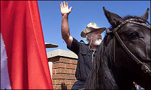 Nazi South African leader on black horse